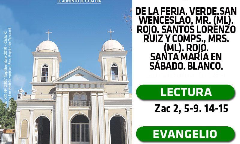 SÁBADO 28: De la feria. Verde. San Wenceslao, mr. (ML). Rojo. Santos Lorenzo Ruiz y comps., mrs. (ML). Rojo. Santa María en Sábado. Blanco.