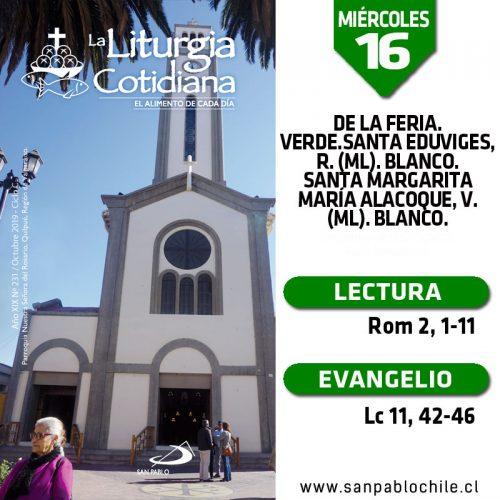 MIÉRCOLES 16: De la feria. Verde.Santa Eduviges, r. (ML). Blanco. Santa Margarita María Alacoque, v. (ML). Blanco.