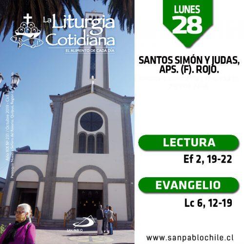 LUNES 28: Santos Simón y Judas, aps. (F). Rojo.