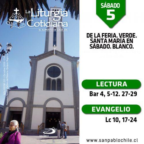 SÁBADO 5: De la feria. Verde. Santa María en Sábado. Blanco.