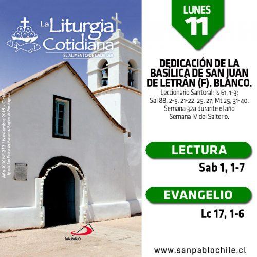 LUNES 11: San Martín de Tours, o. (MO). Blanco.