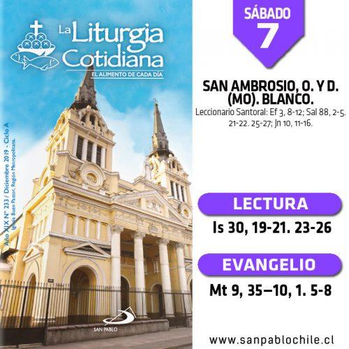 SÁBADO 7: San Ambrosio, o. y d. (MO). Blanco.