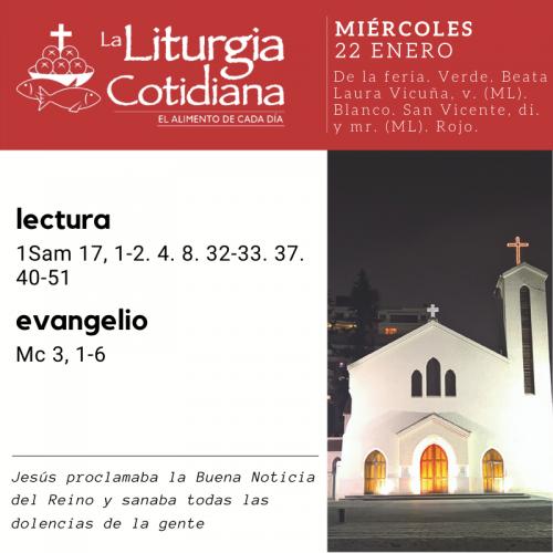 MIÉRCOLES 22: De la feria. Verde. Beata Laura Vicuña, v. (ML). Blanco. San Vicente, di. y mr. (ML). Rojo.