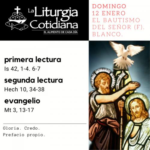 DOMINGO 12: EL BAUTISMO DEL SEÑOR (F). Blanco.