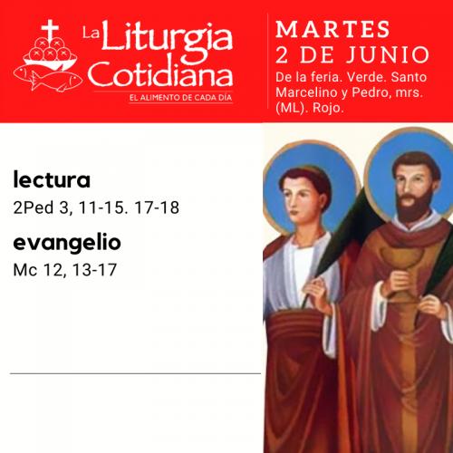 MARTES 2: De la feria. Verde. Santos Marcelino y Pedro, mrs. (ML). Rojo.
