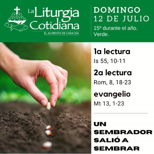 LITURGIA COTIDIANA DOMINGO 12: 15º durante el año. Verde.