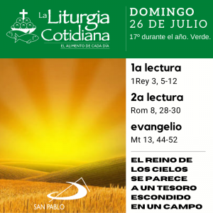 LITURGIA COTIDIANA DOMINGO 26: 17º durante el año. Verde.