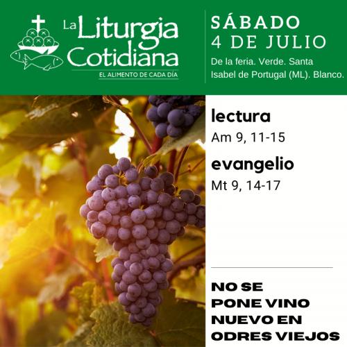 LITURGIA COTIDIANA SÁBADO 4: De la feria. Verde. Santa Isabel de Portugal (ML). Blanco.