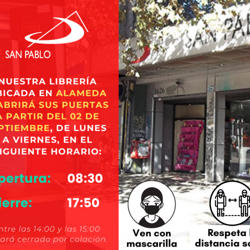 Librería SAN PABLO Alameda reabre sus puertas al público