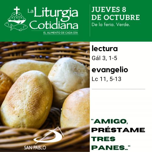 LITURGIA COTIDIANA JUEVES 8: De la feria. Verde.