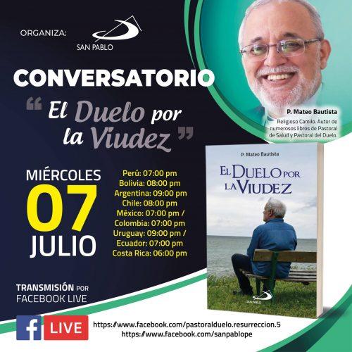 """SAN PABLO los invita al Conversatorio """"El Duelo por la Viudez"""" del P. Mateo Bautista"""