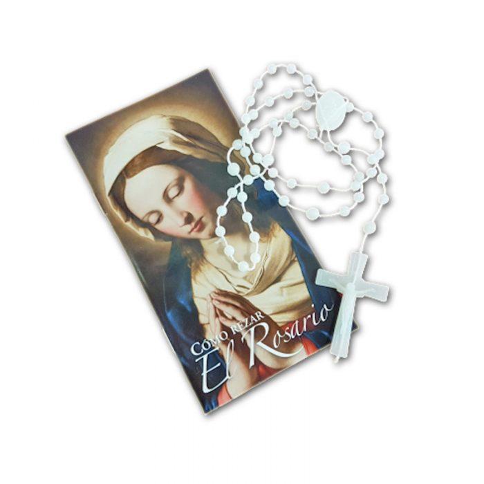 Folleto Como rezar el Rosario + Rosario Plástico Luminoso