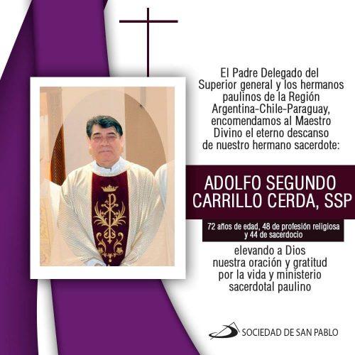 Pascua del P. Adolfo Segundo Carrillo Cerda, ssp
